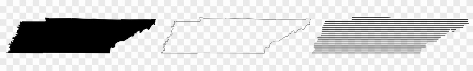 Tennessee Map Black | State Border | United States | US America | Transparent Isolated | Variations