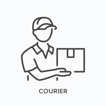 Courier line icon. Vector outline illustration of delivery boy with box. Man in hat with parcel pictorgam