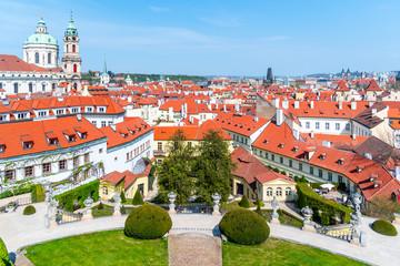 Vrtbovska Garden in Prague. Terraced baroque garden and overview of Lesser Town with St Nicholas Church dome, Prague, Czech Republic