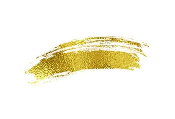 Gold foil brush stroke. Golden scribble, glitter texture isolated on white background. Vector shiny metallic brushstroke element design