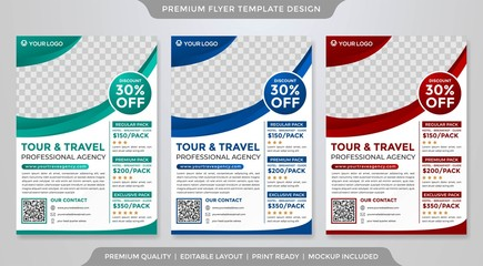 set of travel flyer layout template design with minimalist style use for travel agency promotion catalog