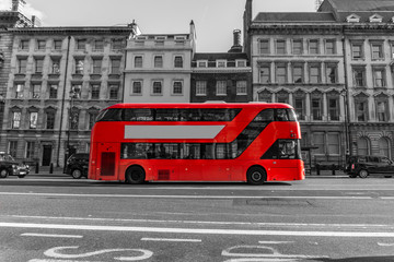 Printed roller blinds London red bus RED Double Decker Bus driving down city street - Red Color in Black and White.