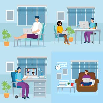 set scenes people working in telecommuting vector illustration design