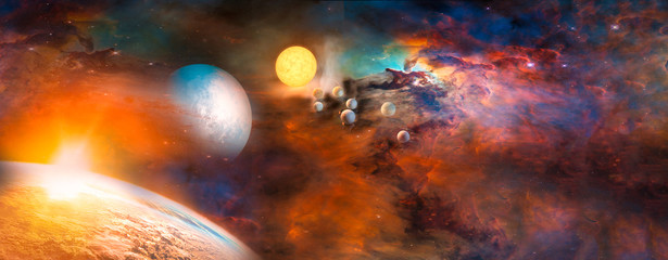 Wall Mural - Landscape of Sunrise and Earth view from space. (Elements of this image furnished by NASA)