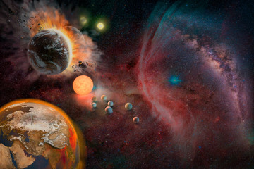 Wall Mural - Landscape of Planet, Sunrise, Earth and milky way view from space. (Elements of this image furnished by NASA)