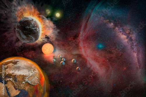 Wall mural Landscape of Planet, Sunrise, Earth and milky way view from space. (Elements of this image furnished by NASA)
