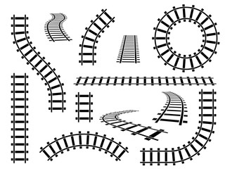 Railroad tracks. Straight, wavy and curved rails railway top view, ladder elements. Steel bars laid, construction isolated vector set