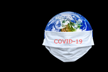 Wall Mural - The whole earth is quarantined, the earth is wearing a maskCoronavirus and Air pollution pm2.5 concept. COVID-19