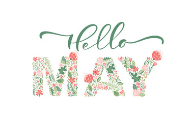 Hello May handwritten calligraphy lettering text. Spring month vector with flowers and leaves. Decoration floral. Illustration month may