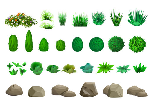 Set of vector trees bushes and stones