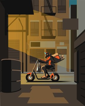 delivery guy riding in the streets on his electric scooter