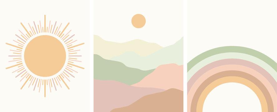 neutral colors abstract art set, rainbow, sun, minimal landscape, mountains, vector illustration
