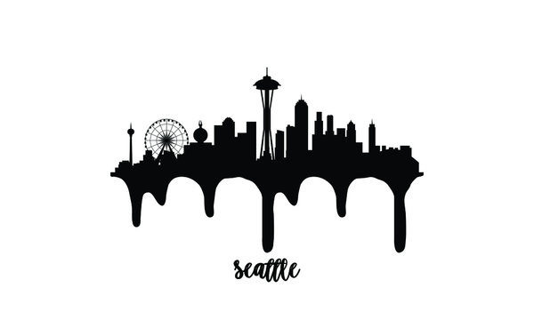 Seattle USA black skyline silhouette vector illustration on white background with dripping ink effect.