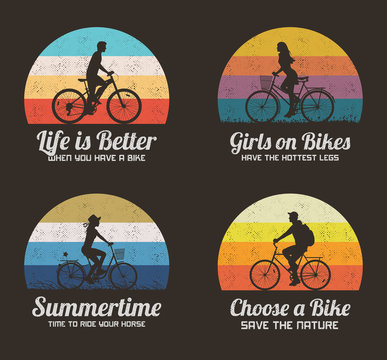 People on bikes. Retro backgrounds set. Cyclist on bicycle silhouette