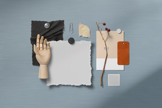 moodboard with paper items pinned with magnets