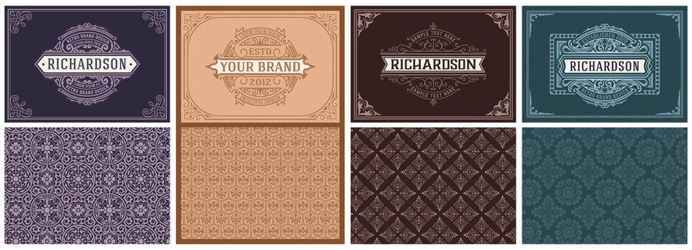 Set of 4 vintage Cards with baroque patterns