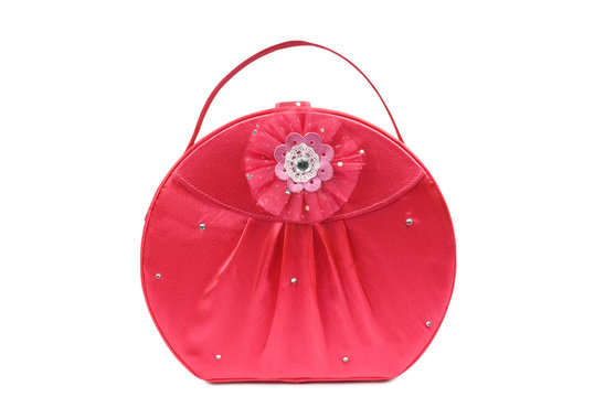 Red jewellery bag isolated on white. Clipping path included.
