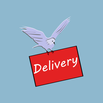 White dove delivers package. Delivery service. Cute cartoon dove flies. Vector illustration.