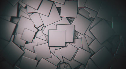 Wall Mural - displaced 3d gray satinated satinated  cubes background, 3d render illustration