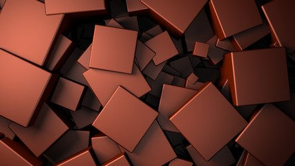 Wall Mural - displace 3d metallic satinated copper cubes background, 3d render illustration