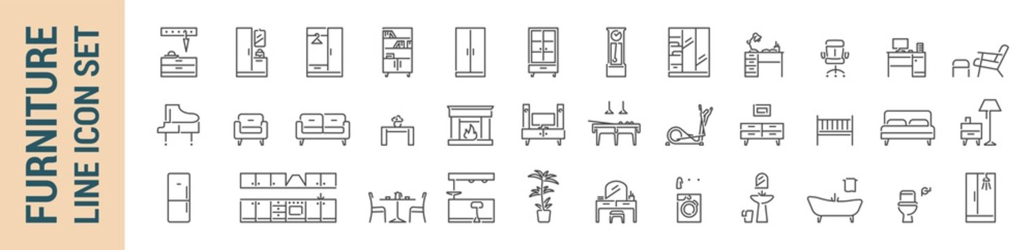 Furniture vector isolated line icon set
