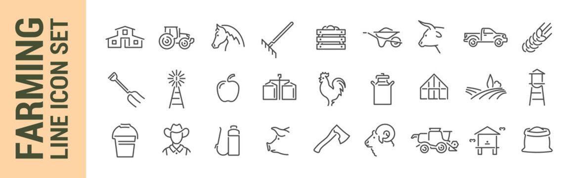 Farming vector isolated line icon set. Agricultural machinery & tools. Fruits & animals