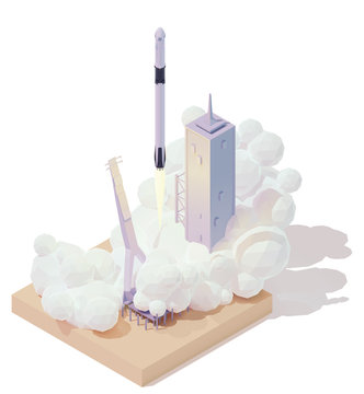 Vector isometric space rocket launch. Modern spaceship launch pad. Rocket lifts off from the launch platform