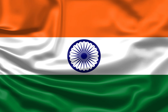 Realistic flag. India flag blowing in the wind. Background silk texture. 3d illustration.