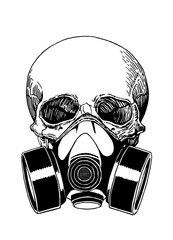 Graphical sketch of human skull in gas mask isolated on white background,vector illustration