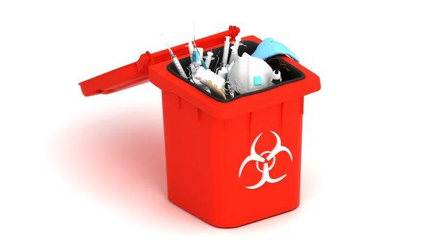 Medical trash 3d illustration. Coronavirus protection equipment in medical waste bin. Used face masks and sterile gloves.
