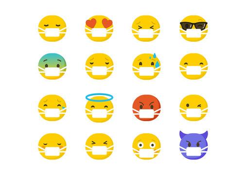 Set of emoticons wearing surgical protective masks , emoji isolated on white background, flat vector illustration