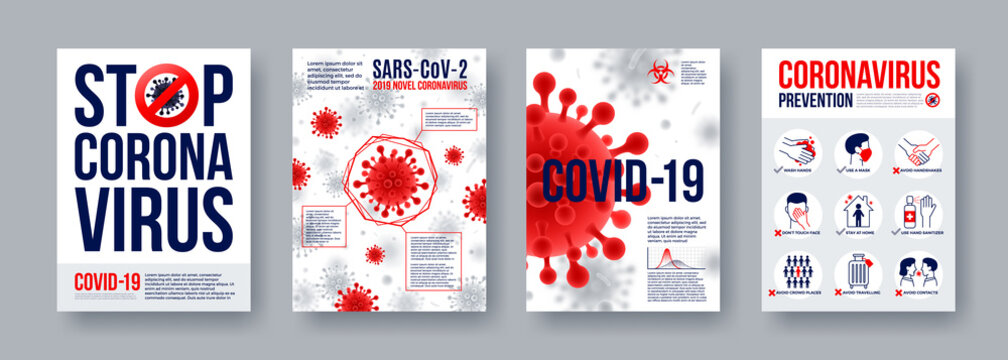 Coronavirus poster set with infographics elements. Novel coronavirus 2019-nCoV banners. Concept of dangerous Covid-19 pandemic. Vector illustration.