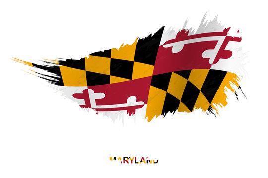 Flag of Maryland state in grunge style with waving effect.