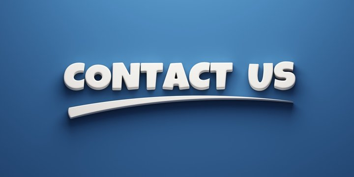 Contact Us Writing. 3D Render Illustration banner