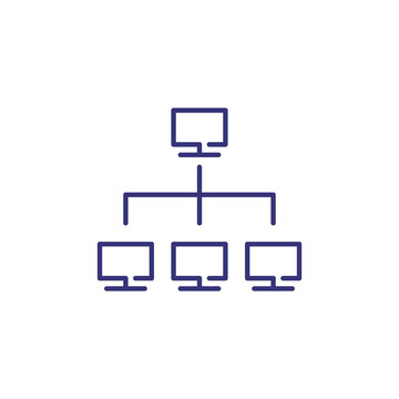 Computer network line icon. Monitors in flow chart. Information technology concept. Can be used for topics like data system, IT architecture, lan connection