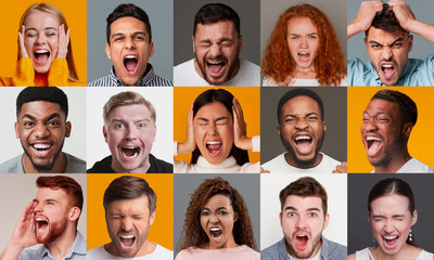 Obraz Expressing anger. Collage with diverse people screaming, showing negative emotions, color baclground - fototapety do salonu