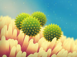 Pollen allergy is also known as hay fever or allergic rhinitis, Pollen grains on flower stamens