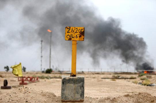 Sign is seen at al-Zubair oil field near Basra