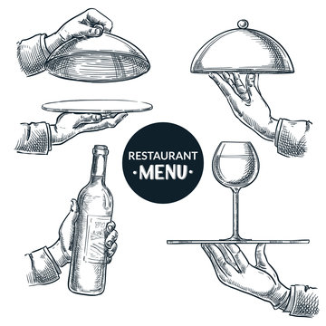 Waiters hands holding trays. Vector hand drawn sketch illustration. Restaurant menu, catering service design elements