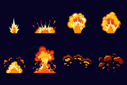 Cartoon explosion effect. Dynamite explosion, atomic bomb, smoke after the explosion. mobile game animation