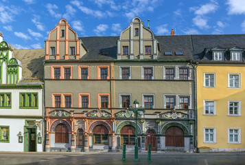 Fototapete - Houses on a Market square in Weimar, Germany