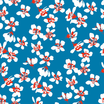 Naive shabby style tree blouson floral rapport. Simple single flower floral seamless pattern for background, fabric, textile, wrap, surface, web and print design. Hand drawn flowers motif.