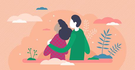 Empathy vector illustration. Understanding feeling flat tiny person concept