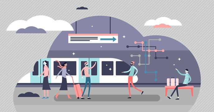 Subway vector illustration. Underground tube scene flat tiny persons concept