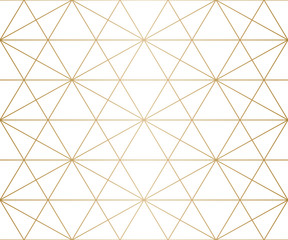 Golden lines pattern. Vector geometric seamless texture with delicate grid, thin diagonal lines, hexagons, triangles. Abstract white and gold graphic background. Premium design for decoration, prints