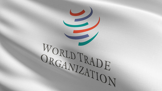 Flag of The World Trade Organization or WTO. Intergovernmental organization that is concerned with the regulation of international trade between nations. 3D rendering illustration of waving sign.