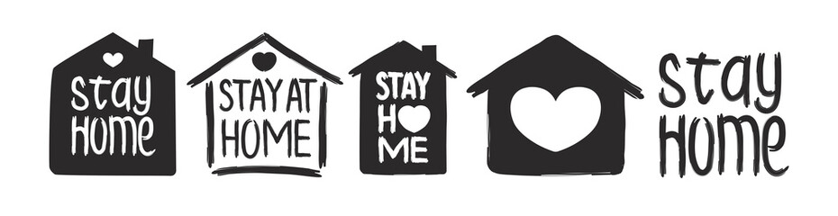 Stay home - hand drawn vector quote set isolated on white background with house and heart for self isolation, quarantine. Trendy typography for pillow, mug, cup, poster, home decor, kids room. 10 eps