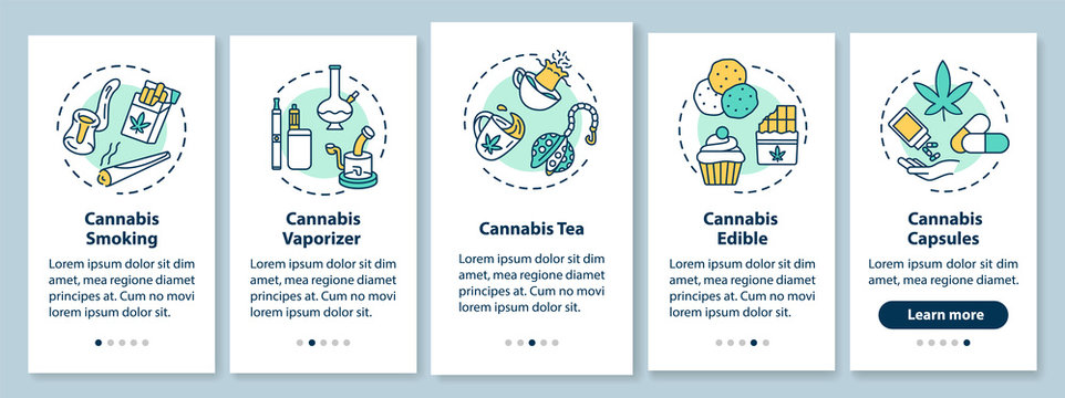 Cannabis forms onboarding mobile app page screen with concepts