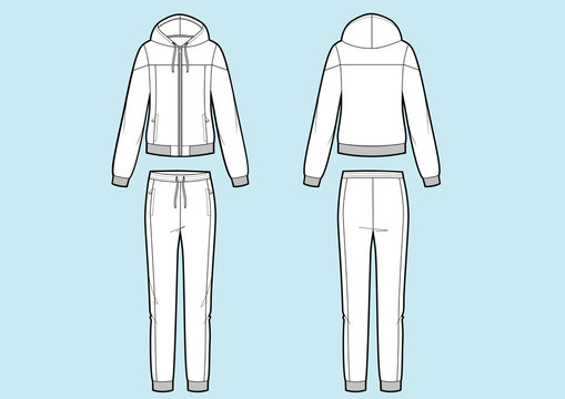 Vector illustration of women's sport suit. Sweatshirt and pants. Front and back views