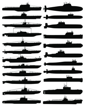 Collection silhouettes of submarines. Submarines silhouettes. Set of submarines. Bundle submarines. Vector illustration.